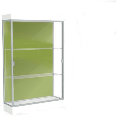 "Edge Lighted Floor Case, Pale Green Back, Satin Frame, 6"" Frosty White Base, 48""W x 76""H x 20""D"