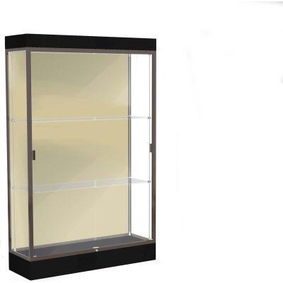 "Edge Lighted Floor Case, Silk Back, Dark Bronze Frame, 6"" Black Base, 48""W x 76""H x 20""D"