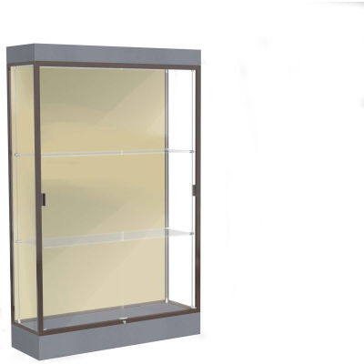 "Edge Lighted Floor Case, Silk Back, Dark Bronze Frame, 6"" Carbon Mesh Base, 48""W x 76""H x 20""D"