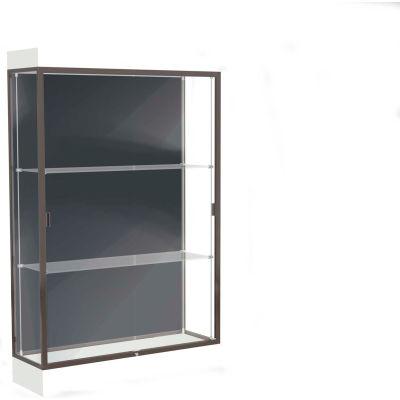 """Edge Lighted Floor Case, Slate Back, Dark Bronze Frame, 6"""" Frosty White Base, 48""""W x 76""""H x 20""""D"""