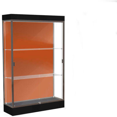 "Edge Lighted Floor Case, Terra Cotta Back, Dark Bronze Frame, 6"" Black Base, 48""W x 76""H x 20""D"