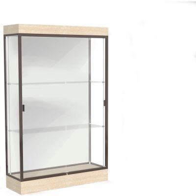 """Edge Lighted Floor Case, White Back, Dark Bronze Frame, 6"""" Chardonnay Base, 48""""W x 76""""H x 20""""D"""