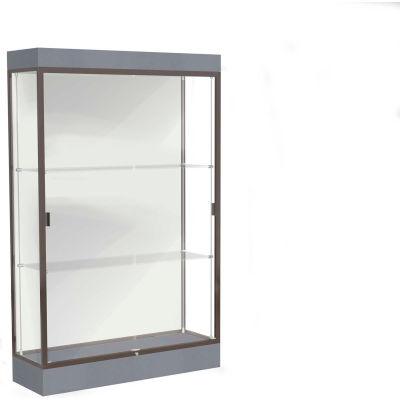 """Edge Lighted Floor Case, White Back, Dark Bronze Frame, 6"""" Carbon Mesh Base, 48""""W x 76""""H x 20""""D"""