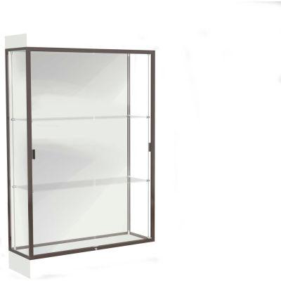 """Edge Lighted Floor Case, White Back, Dark Bronze Frame, 6"""" Frosty White Base, 48""""W x 76""""H x 20""""D"""