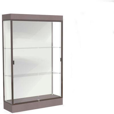 """Edge Lighted Floor Case, White Back, Dark Bronze Frame, 6"""" Morro Zephyr Base, 48""""W x 76""""H x 20""""D"""