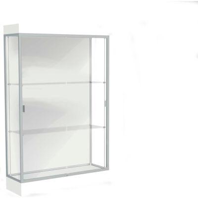 """Edge Lighted Floor Case, White Back, Satin Frame, 6"""" Frosty White Base, 48""""W x 76""""H x 20""""D"""
