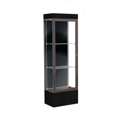 """Edge Lighted Floor Case, Black Back, Dark Bronze Frame, 12"""" Black Base, 24""""W x 76""""H x 20""""D"""