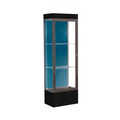 """Edge Lighted Floor Case, Blue Steel Back, Dark Bronze Frame, 12"""" Black Base, 24""""W x 76""""H x 20""""D"""