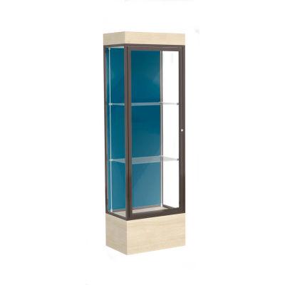 "Edge Lighted Floor Case, Blue Steel Back, Dark Bronze Frame, 12"" Chardonnay Base, 24""W x 76""H x 20""D"