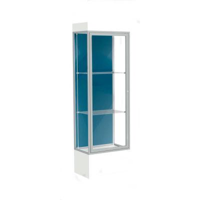 """Edge Lighted Floor Case, Blue Steel Back, Satin Frame, 12"""" Frosty White Base, 24""""W x 76""""H x 20""""D"""