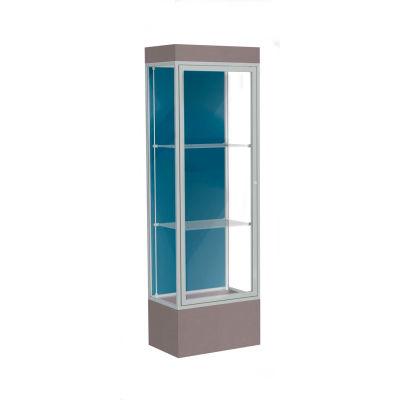 """Edge Lighted Floor Case, Blue Steel Back, Satin Frame, 12"""" Morro Zephyr Base, 24""""W x 76""""H x 20""""D"""
