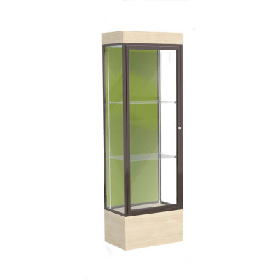 "Edge Lighted Floor Case, Pale Green Back, Dark Bronze Frame, 12"" Chardonnay Base, 24""W x 76""H x 20""D"