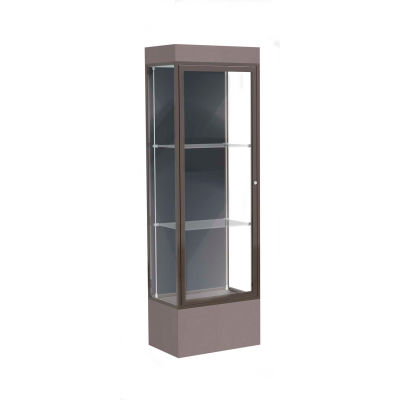 "Edge Lighted Floor Case, Slate Back, Dark Bronze Frame, 12"" Morro Zephyr Base, 24""W x 76""H x 20""D"