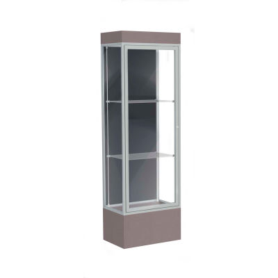 "Edge Lighted Floor Case, Slate Back, Satin Frame, 12"" Morro Zephyr Base, 24""W x 76""H x 20""D"