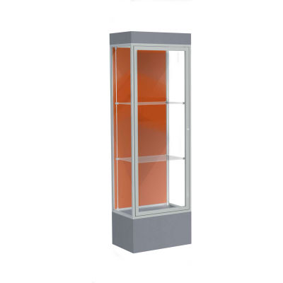 "Edge Lighted Floor Case, Terra Cotta Back, Satin Frame, 12"" Carbon Mesh Base, 24""W x 76""H x 20""D"