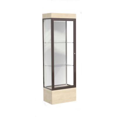 """Edge Lighted Floor Case, White Back, Dark Bronze Frame, 12"""" Chardonnay Base, 24""""W x 76""""H x 20""""D"""