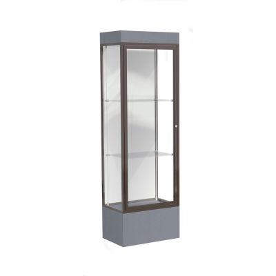"""Edge Lighted Floor Case, White Back, Dark Bronze Frame, 12"""" Carbon Mesh Base, 24""""W x 76""""H x 20""""D"""