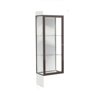 """Edge Lighted Floor Case, White Back, Dark Bronze Frame, 12"""" Frosty White Base, 24""""W x 76""""H x 20""""D"""
