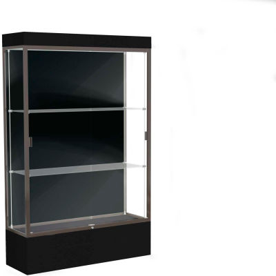 "Edge Lighted Floor Case, Black Back, Dark Bronze Frame, 12"" Black Base, 48""W x 76""H x 20""D"