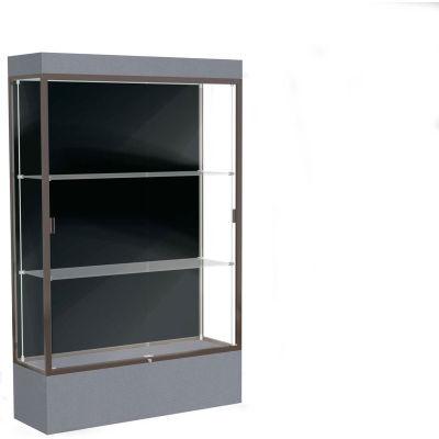 """Edge Lighted Floor Case, Black Back, Dark Bronze Frame, 12"""" Carbon Mesh Base, 48""""W x 76""""H x 20""""D"""