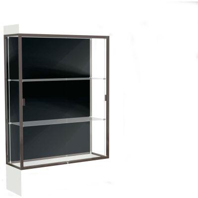 """Edge Lighted Floor Case, Black Back, Dark Bronze Frame, 12"""" Frosty White Base, 48""""W x 76""""H x 20""""D"""
