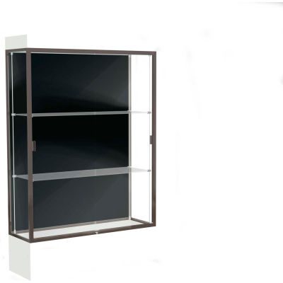 "Edge Lighted Floor Case, Black Back, Dark Bronze Frame, 12"" Frosty White Base, 48""W x 76""H x 20""D"