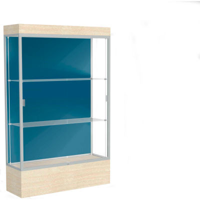 "Edge Lighted Floor Case, Blue Steel Back, Satin Frame, 12"" Chardonnay Base, 48""W x 76""H x 20""D"