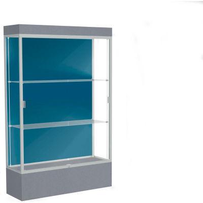 "Edge Lighted Floor Case, Blue Steel Back, Satin Frame, 12"" Carbon Mesh Base, 48""W x 76""H x 20""D"