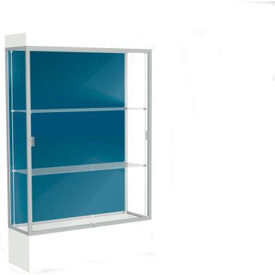 """Edge Lighted Floor Case, Blue Steel Back, Satin Frame, 12"""" Frosty White Base, 48""""W x 76""""H x 20""""D"""