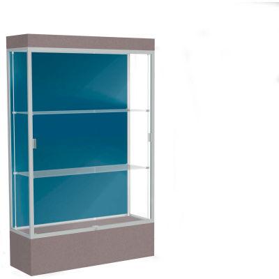 """Edge Lighted Floor Case, Blue Steel Back, Satin Frame, 12"""" Morro Zephyr Base, 48""""W x 76""""H x 20""""D"""