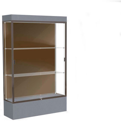"Edge Lighted Floor Case, Chocolate Back, Dark Bronze Frame, 12"" Carbon Mesh Base, 48""W x 76""H x 20""D"