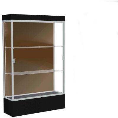 "Edge Lighted Floor Case, Chocolate Back, Satin Frame, 12"" Black Base, 48""W x 76""H x 20""D"