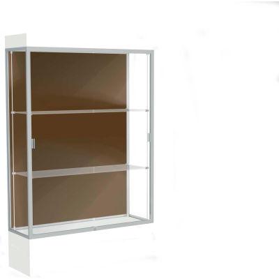 "Edge Lighted Floor Case, Chocolate Back, Satin Frame, 12"" Frosty White Base, 48""W x 76""H x 20""D"