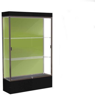 """Edge Lighted Floor Case, Pale Green Back, Dark Bronze Frame, 12"""" Black Base, 48""""W x 76""""H x 20""""D"""