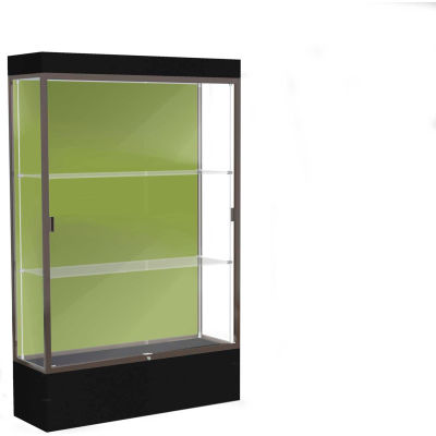 "Edge Lighted Floor Case, Pale Green Back, Dark Bronze Frame, 12"" Black Base, 48""W x 76""H x 20""D"