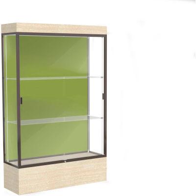 "Edge Lighted Floor Case, Pale Green Back, Dark Bronze Frame, 12"" Chardonnay Base, 48""W x 76""H x 20""D"