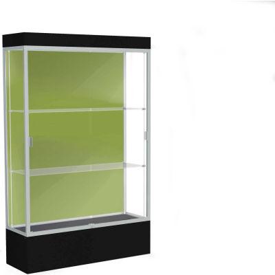 "Edge Lighted Floor Case, Pale Green Back, Satin Frame, 12"" Black Base, 48""W x 76""H x 20""D"