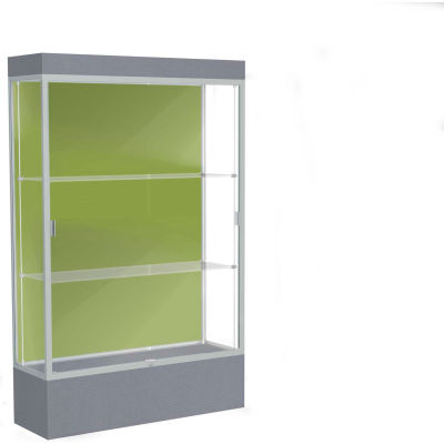 "Edge Lighted Floor Case, Pale Green Back, Satin Frame, 12"" Carbon Mesh Base, 48""W x 76""H x 20""D"
