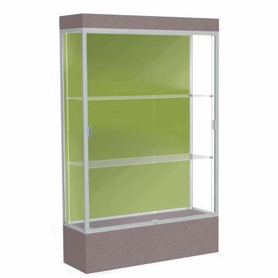 """Edge Lighted Floor Case, Pale Green Back, Satin Frame, 12"""" Morro Zephyr Base, 48""""W x 76""""H x 20""""D"""