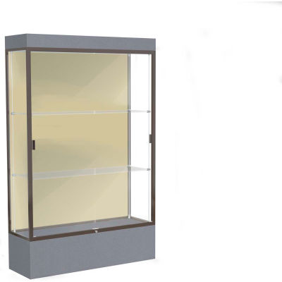 "Edge Lighted Floor Case, Silk Back, Dark Bronze Frame, 12"" Carbon Mesh Base, 48""W x 76""H x 20""D"