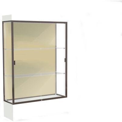 """Edge Lighted Floor Case, Silk Back, Dark Bronze Frame, 12"""" Frosty White Base, 48""""W x 76""""H x 20""""D"""