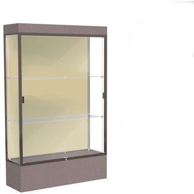 """Edge Lighted Floor Case, Silk Back, Dark Bronze Frame, 12"""" Morro Zephyr Base, 48""""W x 76""""H x 20""""D"""