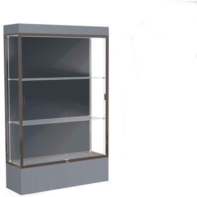 """Edge Lighted Floor Case, Slate Back, Dark Bronze Frame, 12"""" Carbon Mesh Base, 48""""W x 76""""H x 20""""D"""