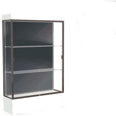 "Edge Lighted Floor Case, Slate Back, Dark Bronze Frame, 12"" Frosty White Base, 48""W x 76""H x 20""D"