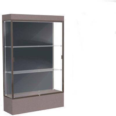 """Edge Lighted Floor Case, Slate Back, Dark Bronze Frame, 12"""" Morro Zephyr Base, 48""""W x 76""""H x 20""""D"""