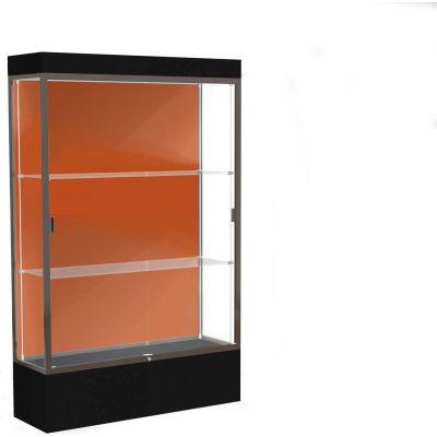 """Edge Lighted Floor Case, Terra Cotta Back, Dark Bronze Frame, 12"""" Black Base, 48""""W x 76""""H x 20""""D"""