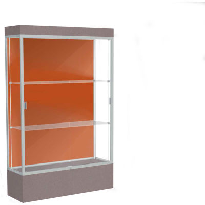 "Edge Lighted Floor Case, Terra Cotta Back, Satin Frame, 12"" Morro Zephyr Base, 48""W x 76""H x 20""D"
