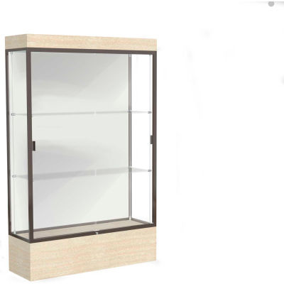 """Edge Lighted Floor Case, White Back, Dark Bronze Frame, 12"""" Chardonnay Base, 48""""W x 76""""H x 20""""D"""
