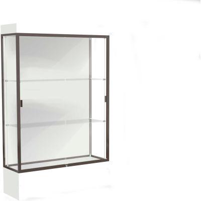 """Edge Lighted Floor Case, White Back, Dark Bronze Frame, 12"""" Frosty White Base, 48""""W x 76""""H x 20""""D"""