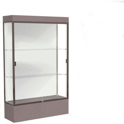 """Edge Lighted Floor Case, White Back, Dark Bronze Frame, 12"""" Morro Zephyr Base, 48""""W x 76""""H x 20""""D"""